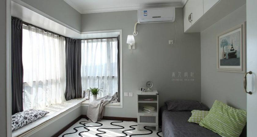 Masculine Small Bedroom Bay Window Decoration Grey