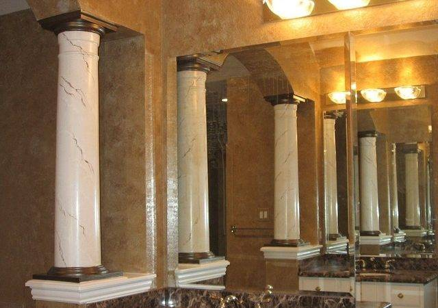 Master Bath Faux Marble Columns Traditional