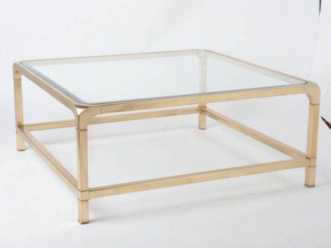 Mastercraft Brass Glass Square Cocktail Coffee Table
