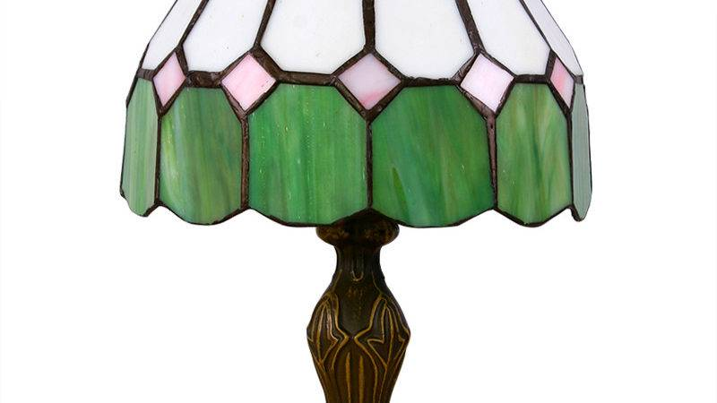 Mediterranean Style Green White Tiffany Table Lamp
