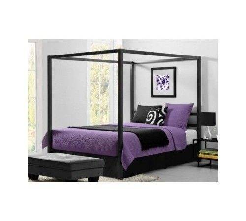 Metal Canopy Bed Frame Four Poster Modern Gray Queen