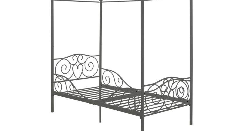 Metal Twin Four Poster Canopy Bed Intricate Foot