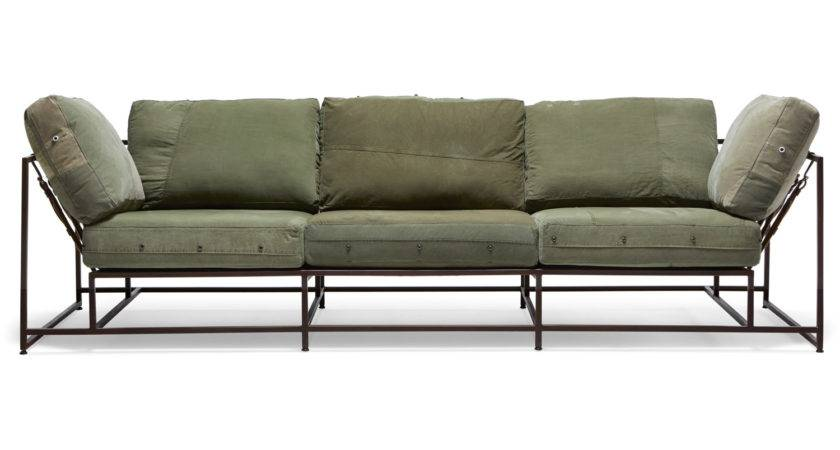 Military Canvas Sofa Marbled Brown Finish