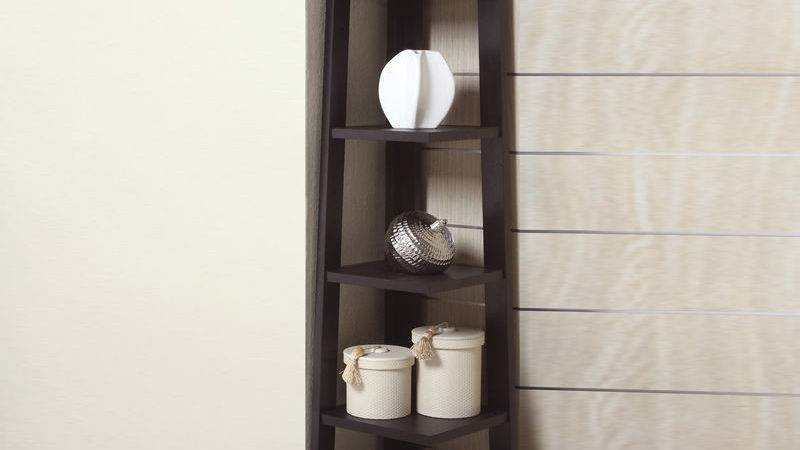 Modern Crafted Cappoccino Tier Angled Wooden Bookshelf