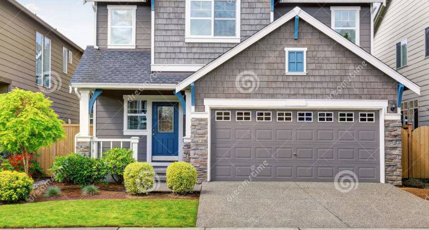 Modern House Gray Exterior Blue White Trim