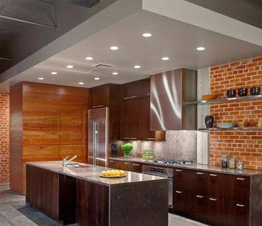 Modern Kitchens Interior Brick Wall Design Ideas