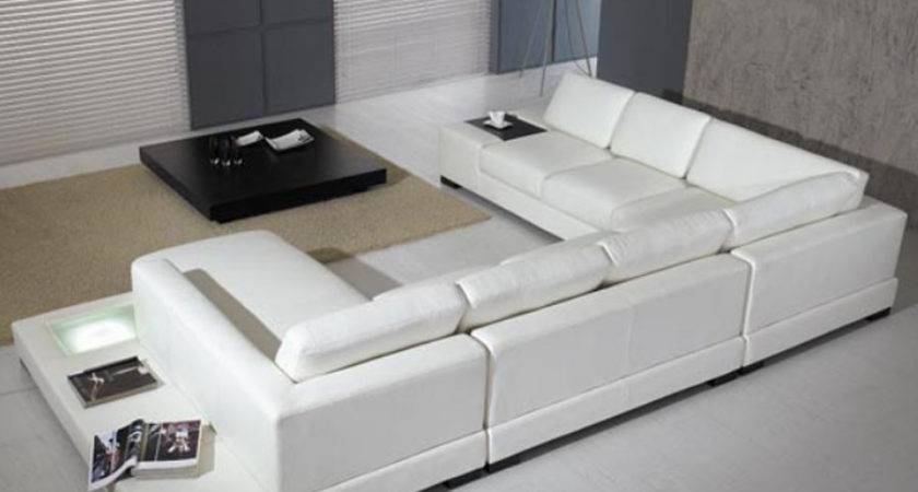 Modern Leather Piece Sectional Sofa White Tosh