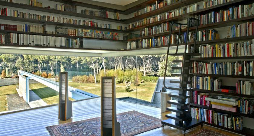 Modern Library House Design Interior Ideas