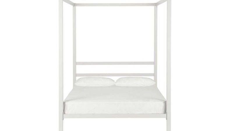 Modern Metal Canopy Bed White