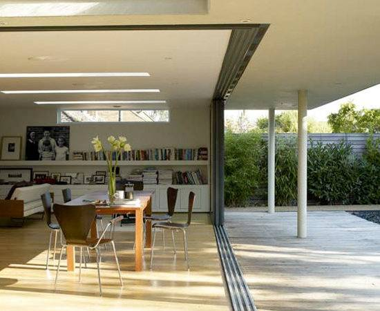 Modern Outdoor Dining Area Glass Panels Open Plan