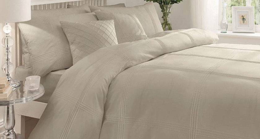Modern Pintuck Stripe Duvet Cover Soft Percale Cotton