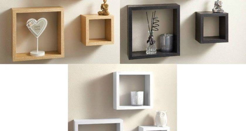 Modern Set Floating Wall Shelves Cube Shelf White