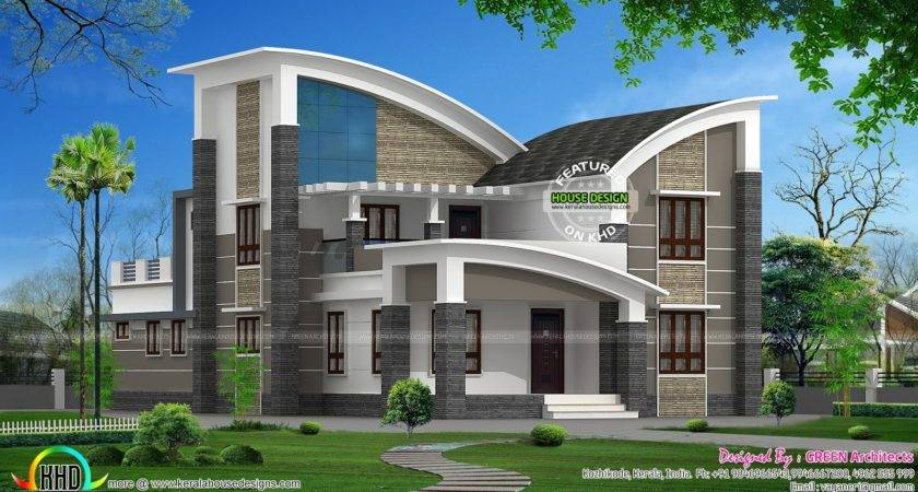 Modern Style Curved Roof Villa Homes Design Plans