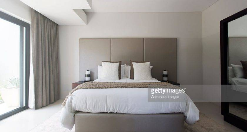 Modern White Beige Bedroom Double Bed