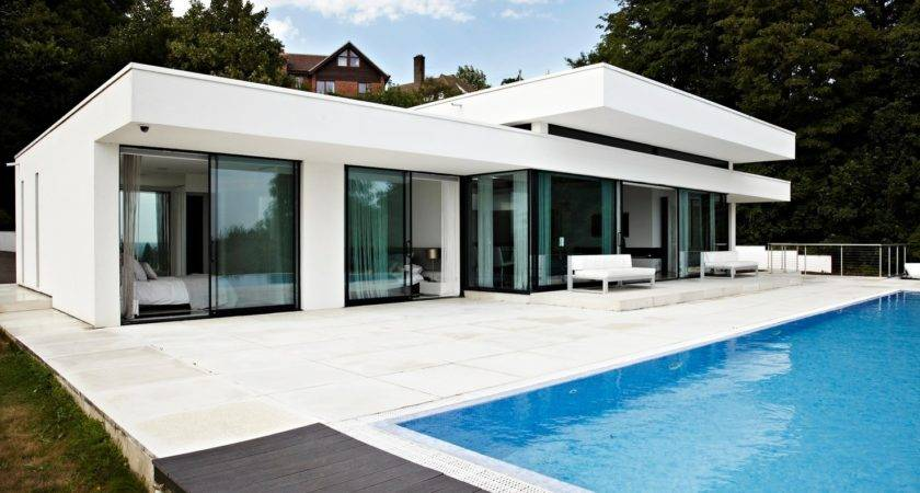 Modern White Wall Glass Concrete Homes Can