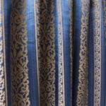 Moroccan Blue Window Curtain Panels Beige Damask Fabricasia