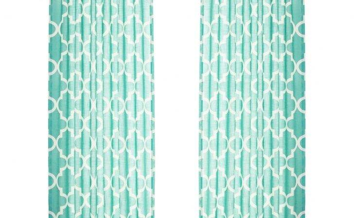 Moroccan Pattern Curtain Panels Blue