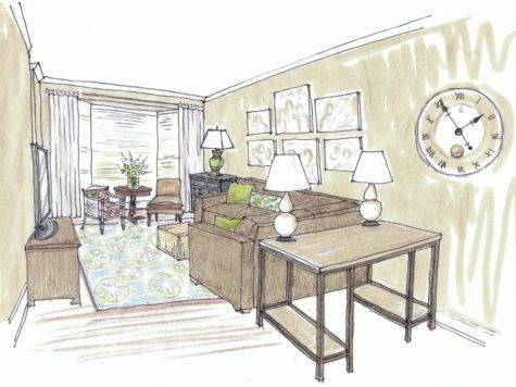 Most Beautiful Living Room Architecture Sketch