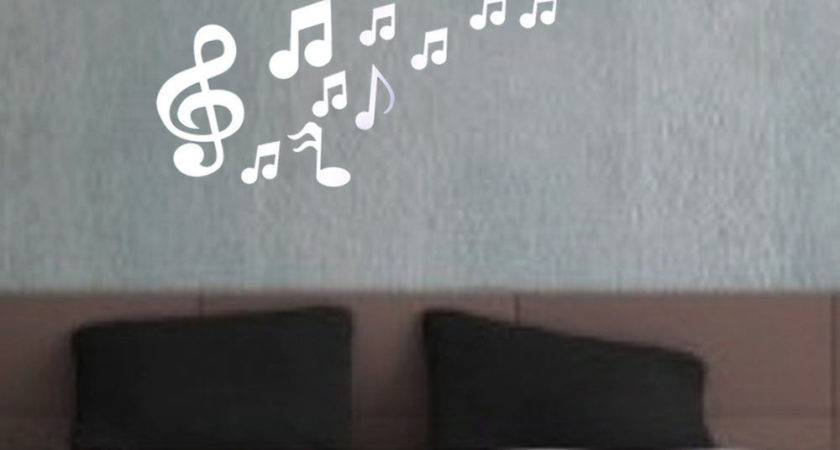 Musical Notes Acrylic Mirrors Wall Sticker Home Decor