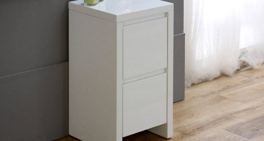 Narrow Bedside Table White Saomc