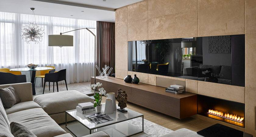 Natural Materials Adorning Sophisticated Moscow Apartment