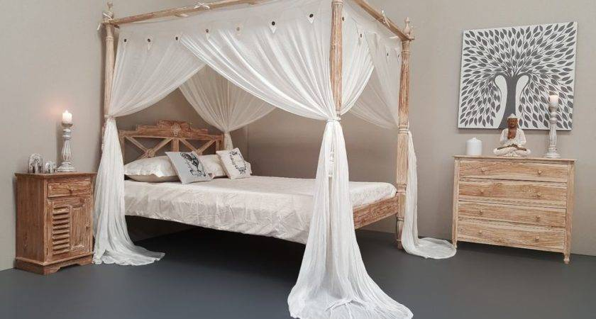 Natural Mosquito Four Poster Bed Canopy Curtain King