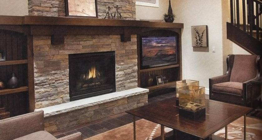 Natural Stone Fireplace Wood Mantel Trinity