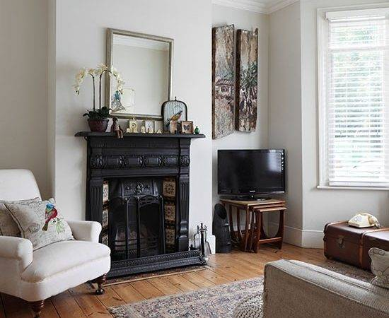 Neutral Living Room Traditional Fireplace