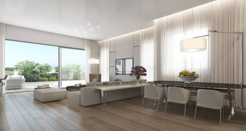 Neutral Open Plan Apartment Wooden Floor Olpos Design