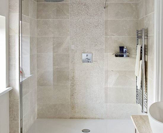 Neutral Stone Tiled Shower Room Decorating Ideal Home