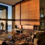 Neutral Wood Panel Living Room Sea Interior Design