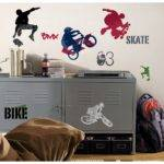 New Extreme Sports Wall Decals Skateboarding Biking