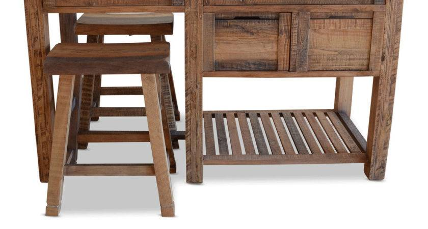 New Rustic Timber Kitchen Island Bench Granite Table Work