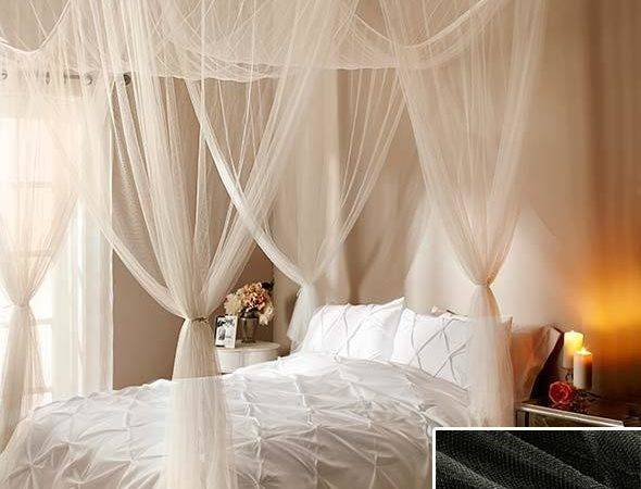 New Sheer Bed Canopy Netting Ceiling Four Poster Ecru
