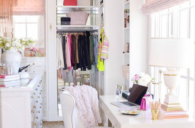 Office Closet Reveal Finished Product Pink