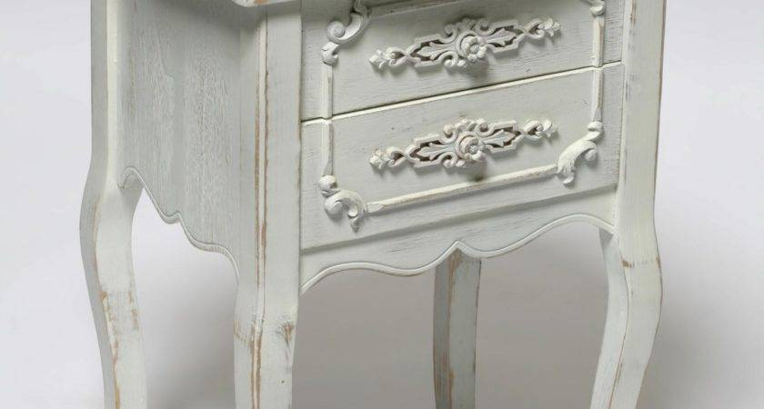 Old Small Bedside Nightstand Table Drawer Painted