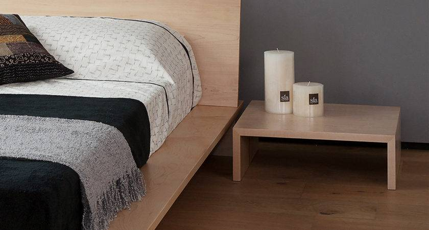 Oregon Low Modern Bedside Table Natural Bed Company