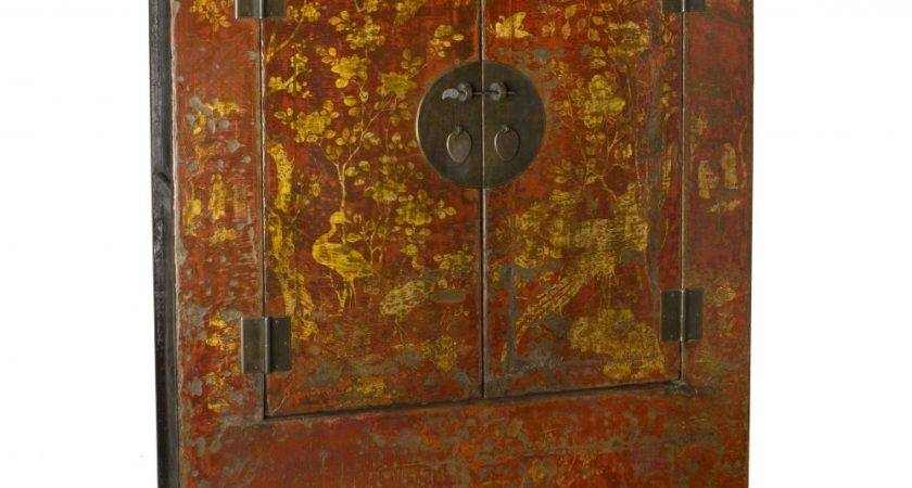 Oriental Furniture Antique Chinese Red Yellow Armoire Ebay