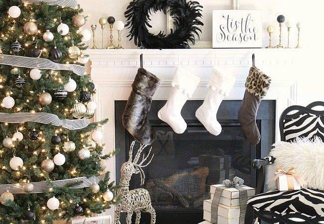Our Christmas Decor Year Black White Gold