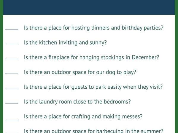 Our House Hunting Checklist