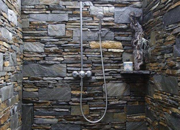 Outdoor Shower Design Ideas Showing Beautiful Tiled