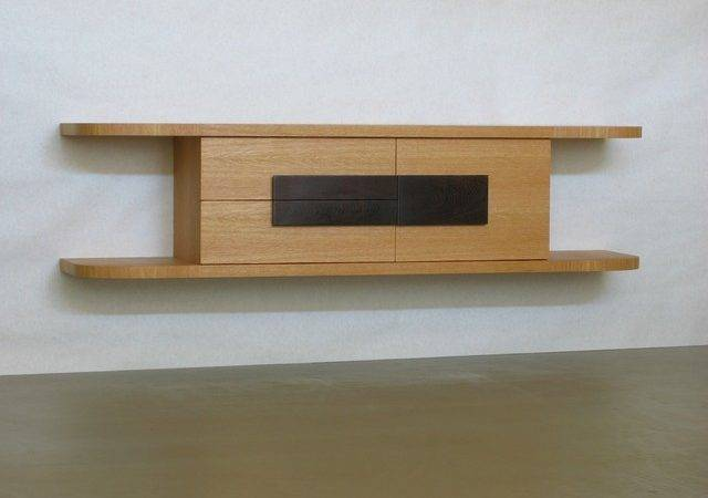 Outline Wall Mounted Console Oak Modern Display