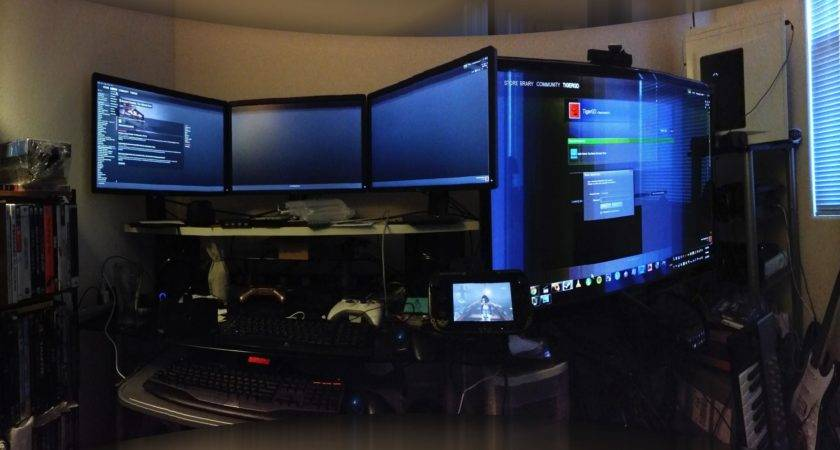 Outstanding Modern Video Game Room Ideas Wide Lcd
