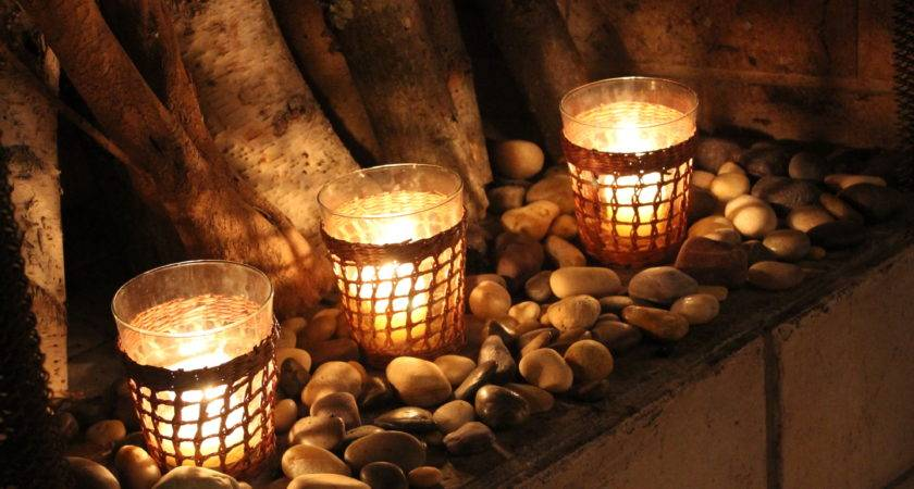 Outstanding River Coral Around Candles Fireplace Feat