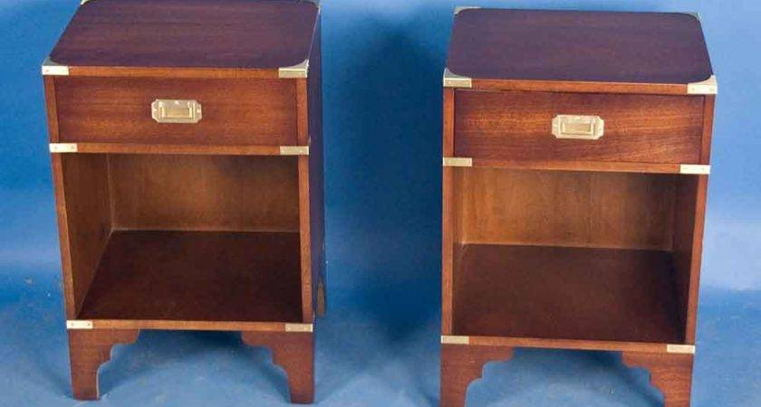 Pair Campaign Style Mahogany Bedside Tables Sale