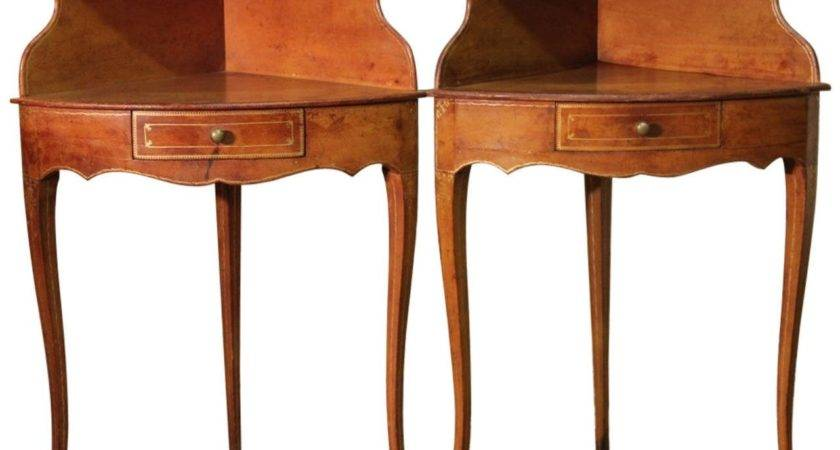 Pair French Corner Bedside Tables Leather