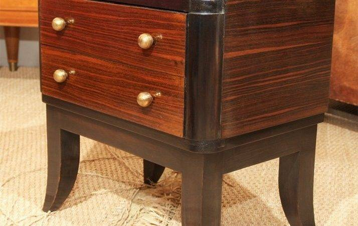Pair French Macassar Ebony Marble Low Bedside