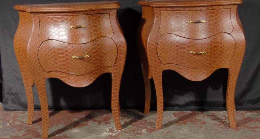 Pair Funky Snakeskin Bedside Table Chests