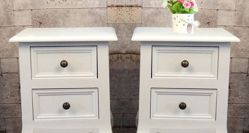Pair Shabby Chic White Bedside Storage Unit Cabinet