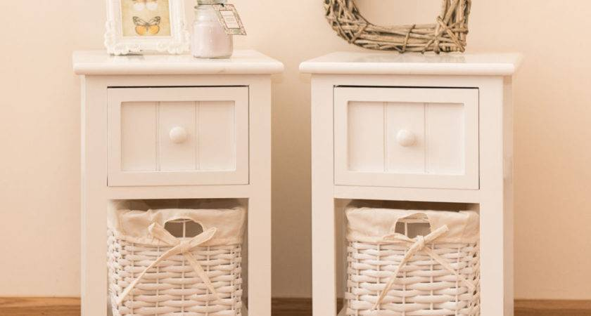 Pair Shabby Chic White Bedside Units Tables Drawers